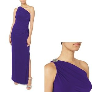 New! RALPH LAUREN One-Shoulder Purple Party Dress